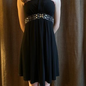 NWT White House Black Market strapless black dress
